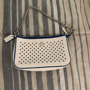 Coach White and Blue Handbag Chain Handle